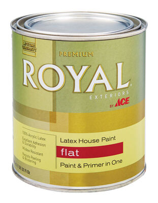 Ace Royal Acrylic Latex House Paint & Primer Flat 1 qt. Ultra White