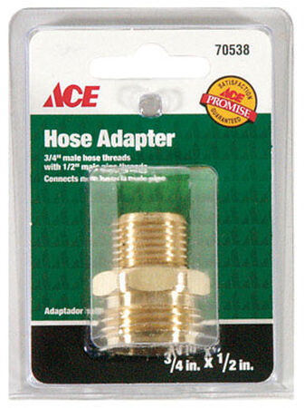 Ace 3/4 in. MHT x 1/2 in. MPT Brass Hose Adapter Double Male Threaded