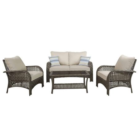 Living Accents Willow 4 pc. Gray Wicker Deep Seating Patio Set Beige Wicker