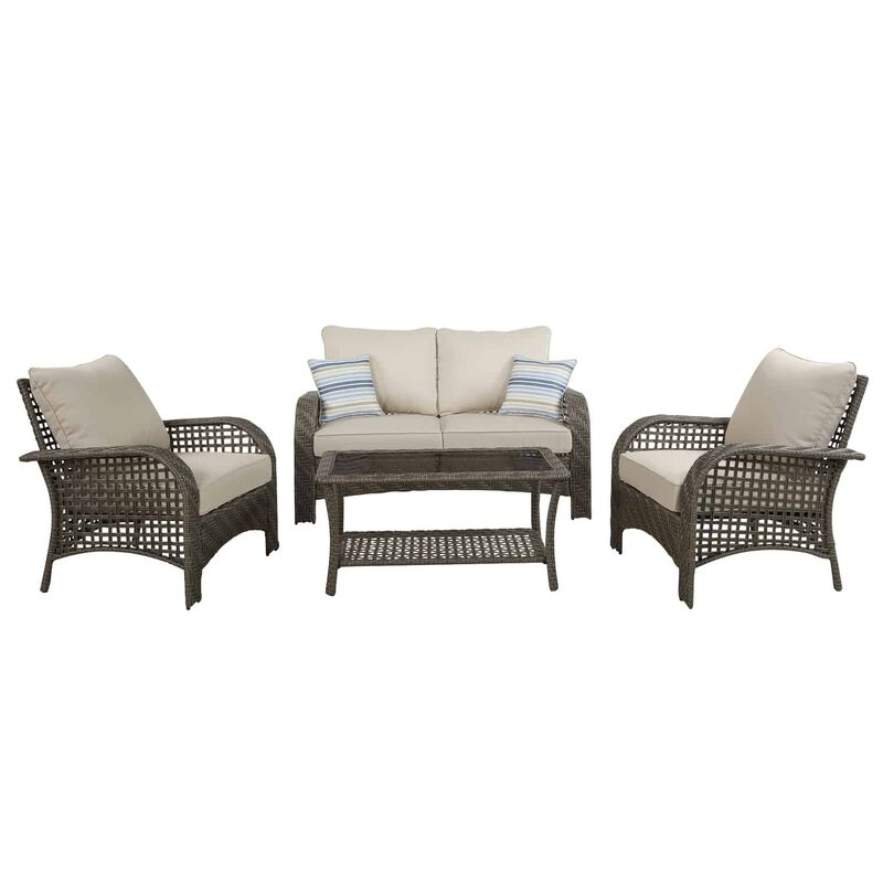 Living Accents Willow 4 pc. Gray Wicker Deep Seating Patio ... on Living Accents Patio id=47724