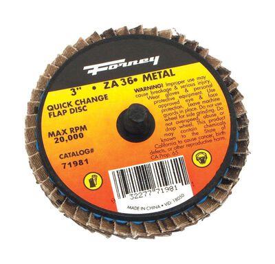 Forney Industries Quick Change 3 in. Dia. Zirconia Aluminum Oxide Flap Disc 36 Grit
