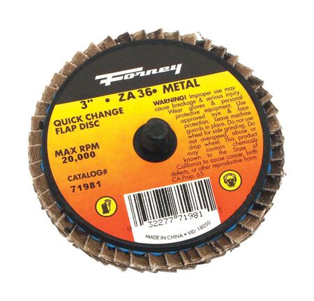 Forney Industries Quick Change 3 in. Dia. Zirconia Aluminum Oxide Flap Disc 36 Grit
