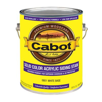 Cabot Solid Color Acrylic Siding Stain White Base Tintable 1 gal.