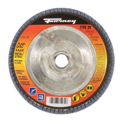 Forney 4-1/2 in. Dia. x 5/8-11 in. Blue Zirconia Flap Disc 60 Grit