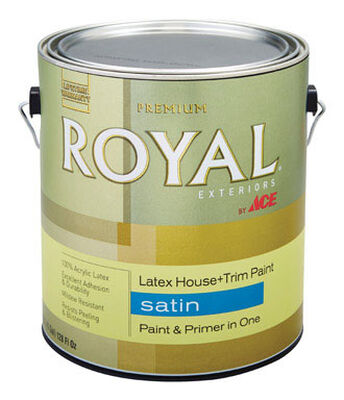 Ace Royal Acrylic Latex House & Trim Paint & Primer Satin 1 gal. High Hiding White