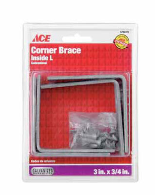 Ace Inside L Corner Brace 3 in. x 3/4 in. Galvanized Steel