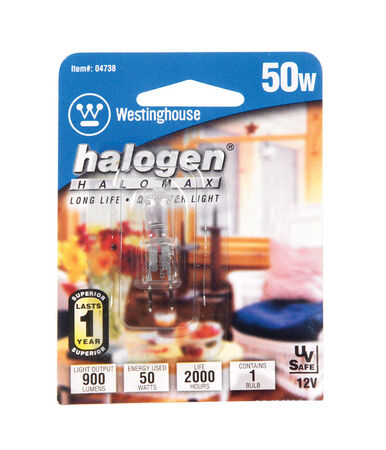 Westinghouse Halogen Light Bulb 50 watts 900 lumens JC T4 1.6 in. L White 1 pk