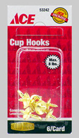 Ace 0.1875 in. L Solid Brass Brass Cup Hook 1 pk