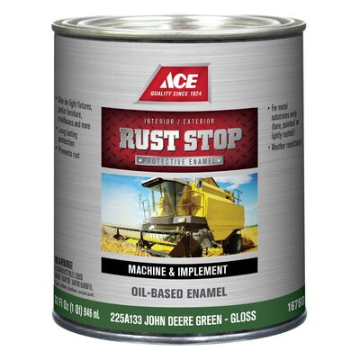 Ace Interior/Exterior Rust Stop Oil-based Enamel Paint John Deere Green Gloss 1 qt.