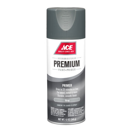 Ace Premium Smooth Gray Enamel Primer Spray Paint 12 oz.