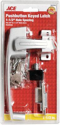 Ace Interior/Exterior Aluminum Push Button Keyed Latch