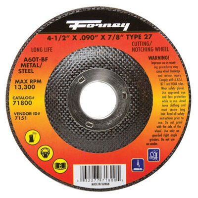 Forney 4-1/2 in. Dia. x .090 in. thick x 7/8 in. Metal Cut-Off Wheel