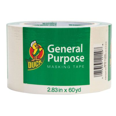 Duck 2.83 in. W x 60 yd. L General Purpose Masking Tape Regular Strength Tan 1 pk