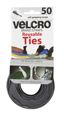 Velcro 8 in. L x 1/2 in. W Ties 50 pk