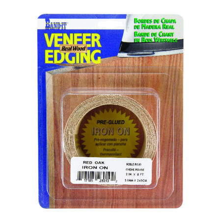 Band-It 2 in. W x 8 in. L Finished Red Oak Wood Veneer Edge Banding