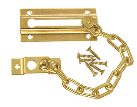 Ace 3.38 in. L Bright Brass Chain Door Guard