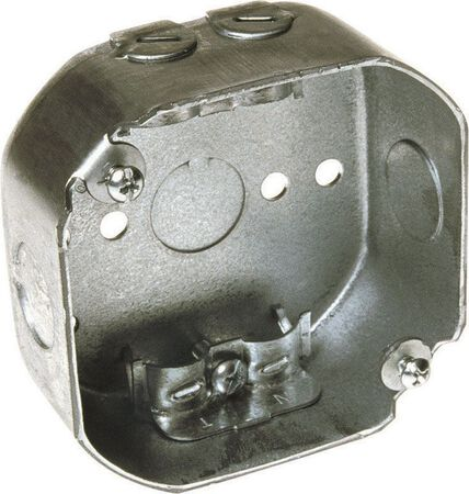 Raco 3-1/2 in. H Octagon 1 Gang Junction Box 1/2 in. Gray Steel