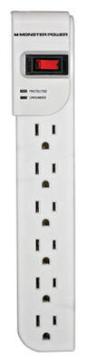 Monster Just Power It Up 4 ft. L 6 outlets Surge Protector White