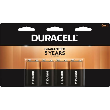 Duracell Coppertop 9V Alkaline Batteries 9 volts 4 pk