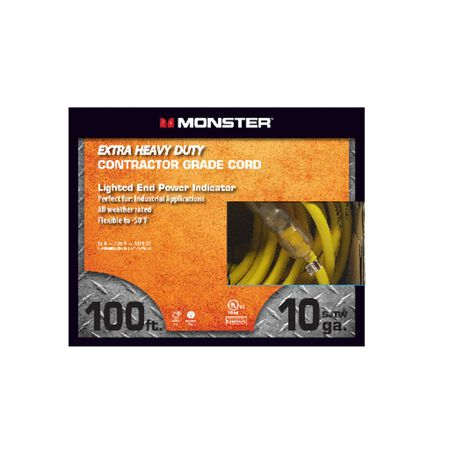 Monster Outdoor Extension Cord 10/3 SJTW 100 ft. L Yellow