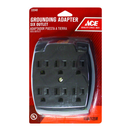 Ace Grounded 6-Outlet Adapter Brown 15 amps 125 volts 1 pk
