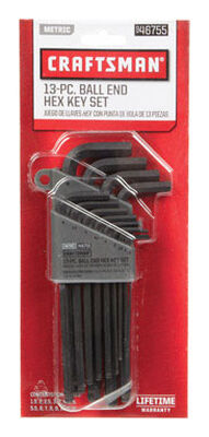 Craftsman Long and Short Arm Metric Standard Ball End Hex Key Set 13 pc.