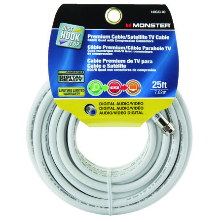 Monster Just Hookit Up 25 ft. L Weatherproof Video Coaxial Cable