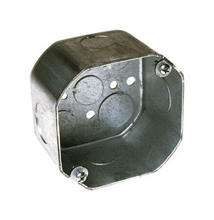 Raco 4 in. H Octagon 1 Gang Electrical Box 1/2 in. Gray Steel