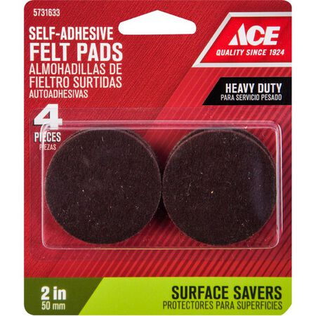 Ace Felt Round Self Adhesive Pad Brown 2 in. W 4 pk