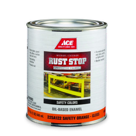 Ace Interior/Exterior Rust Stop Oil-based Enamel Paint Safety Orange Gloss 1 qt.