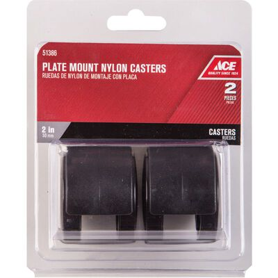 Ace 2 in. Dia. Swivel Gray Twin Wheel Caster with Plate 75 lb. 2 pk