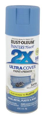 Rust-Oleum Painter's Touch Ultra Cover Wildflower Blue Satin 2x Paint+Primer Enamel Spray 12 oz