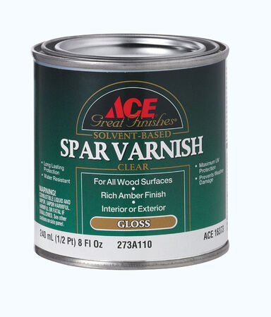 Ace Indoor and Outdoor Rich Amber Gloss Solvent Based Spar Varnish 1/2 pt.