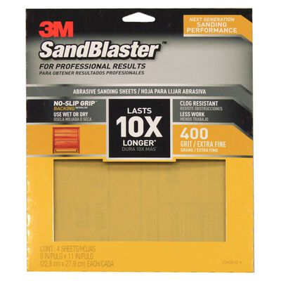 3M SandBlaster Sharp Synthetic Mineral Sandpaper 11 in. L x 9 in. W 400 Grit Ultra Fine 4 pk