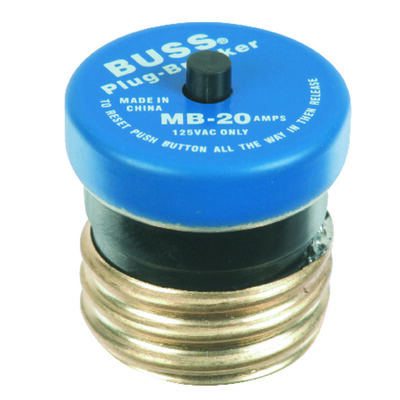 Bussmann Plug Fuse 20 amps 125 volts 1-1/4 in. Dia. 1 pk For Circuit Breaker
