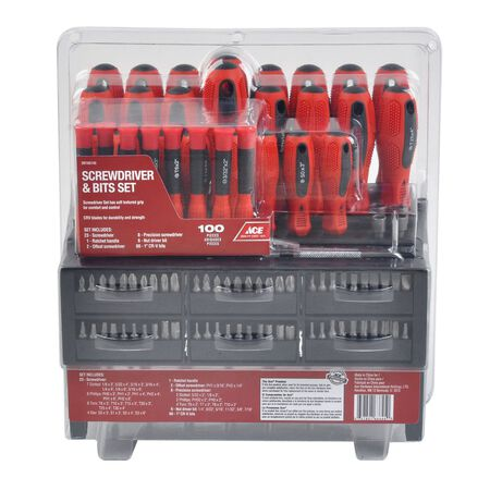 Ace Ratcheting Multi-Size Screwdriver & Bits Set Black/Red 100 pc.