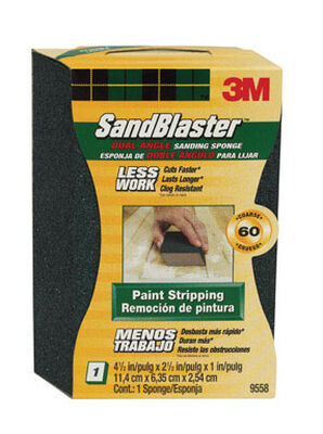 3M Sanding Sponge 2-1/2 in. W x 4-1/2 in. L Medium 60 Grit