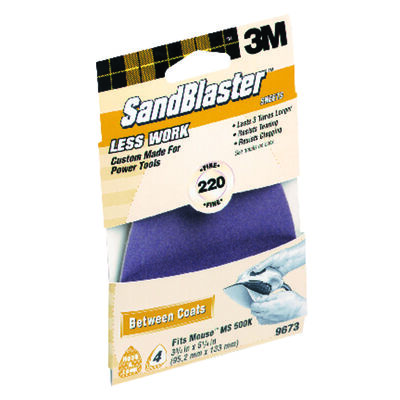 3M Sandblaster Mouse Sandpaper 5-1/2 in. L 220 Grit Fine 4 pk