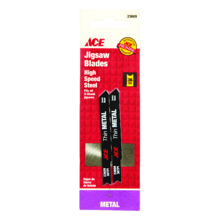 Ace High Speed Steel Universal 2-3/4 in. L Jig Saw Blade 36 TPI 2 pk