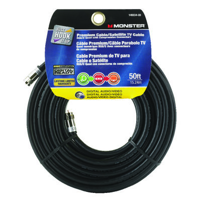 Monster Just Hookit Up 50 ft. L Weatherproof Video Coaxial Cable