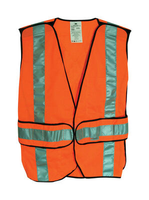 3M Safety Vest with Reflective Stripe Polyester mesh Orange One fits all