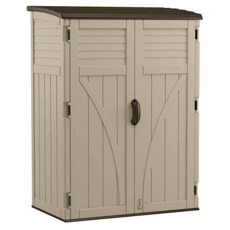 Suncast 6 ft. H x 4.4 ft. W x 2.7 ft. D Sand Resin Vertical Storage Shed