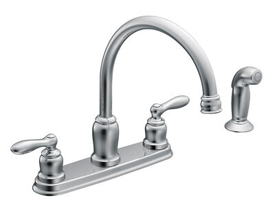 Moen Caldwell Two Handle Chrome Kitchen Faucet Side Sprayer Included