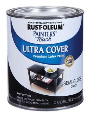 Rust-Oleum Painters' Touch Ultra Cover Interior/Exterior Latex Paint Black Semi-Gloss 1 qt.