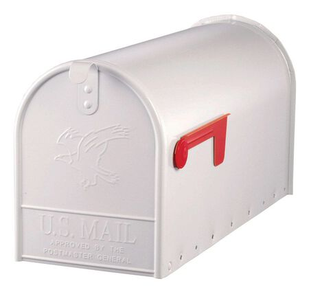 Solar Group Gibraltar Elite Galvanized Steel Post Mounted Mailbox White 10-1/2 in. H x 22-1/4