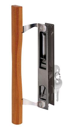 Prime-Line Steel Sliding Glass Door Handle Wood/Black Outdoor Right Handed