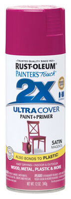 Rust-Oleum Painter's Touch Ultra Cover Magenta Satin 2x Paint+Primer Enamel Spray 12 oz.