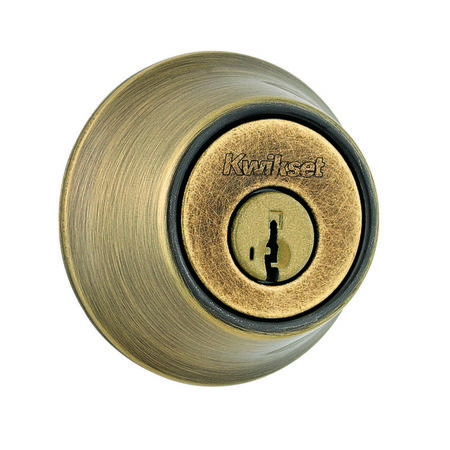 Kwikset Antique Brass Deadbolt 1-3/4 in. For All Standard Door Preparations 0 1 2 3 4 5 6 7
