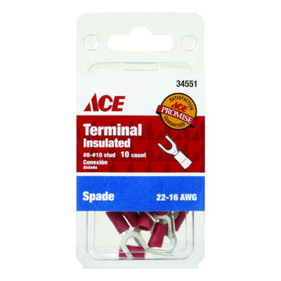 Ace Industrial Spade Terminal Vinyl 10 Red