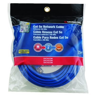 Monster Blue 25 ft. L Category 5E Networking Cable